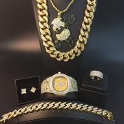 Hip Hop Cuban Necklace Men Watch & Necklace & Braclete & Ring & Earring Combo Set Ice Out Cuban Crystal Miami Hip Hop For Men