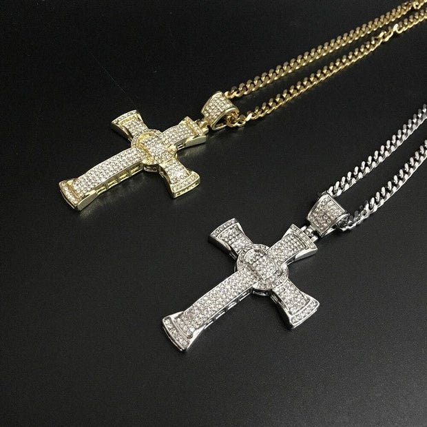 Hip Hop Men Crystal Necklace Gold Silver Color Cross Necklace Stainless Steel Ice Out Cuban Necklace Pendant Hip Hop For Men