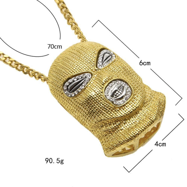 Hip Hop Men Gold Color Hip Hop Counter Terror Pendant Pendant Crystal Miami Necklace Chain Ice Out Cuban Jewerly Hip Hop For Men