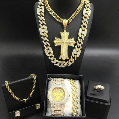 Hip Hop Hommes Gold Color Neckance Chaîne Luxury Men Gold Color Watch - Neckalce - Braclete - Ring - Boucles d'oreilles Ice Out Cuban For Men