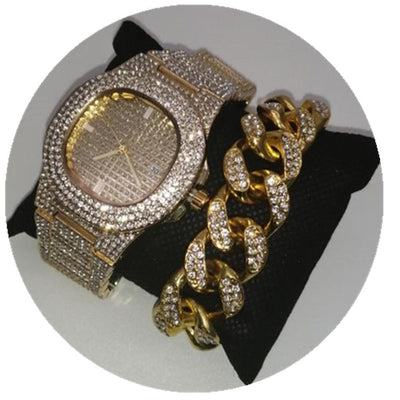 Hip Hop Men Gold and Silver bracelet