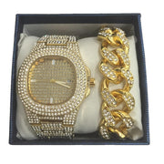 Hip Hop Men Gold Silver Bracelet Gold Silver Watch & Bracelet Combo Set Ice Out Cuban Watch Crystal Miami Chain Hip Hop For men