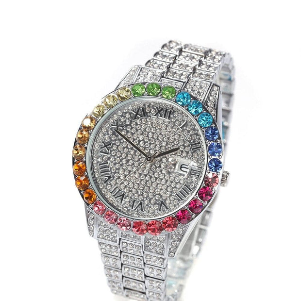 Hip Hop Men Multicolor Fashion Simple Watch Hip Hop Men Luxury Diamond Rainbow Gradient Color Calendar Quartz Watch