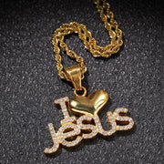 Hip Hop Men Stainless Steel Necklace Pendant I love Jesus Letter Pendant ILoveJesus Color Stainless Steel Rhinestone Jewelry