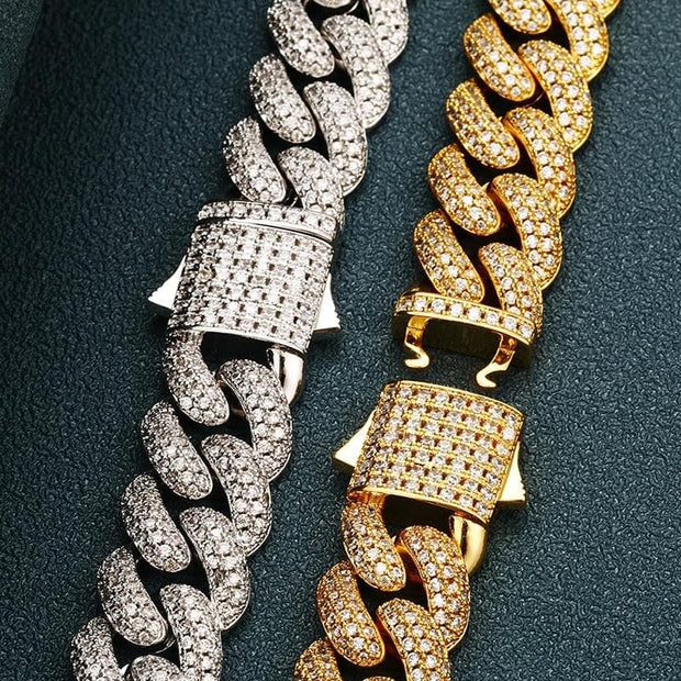 0.5 Inch Heavy Miami Cuban Link Bracelet Full Iced Out Choker Chain For Men's Hip Hop Jewelry Rapper Necklaces Dad Gifts