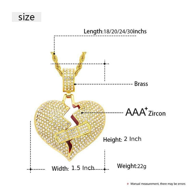 Bling Iced Out Broken Heart Pendant Necklace For Women Men's Hip Hop Jewelry Cubic Zirconia Gold Heart Pendant Chain