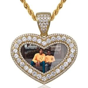 Custom Make Photos Heart Medallions Pendant Neckalce For Men's Hip Hop Tennis Chain AAA Cubic Zircon