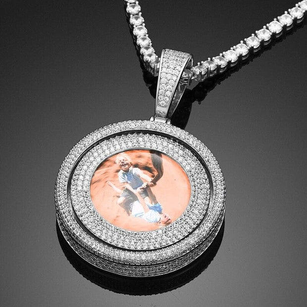 New Rotating Custom Photo Memory Medallions Solid Pendant For Men's Hip Hop Jewelry Personalized Cubic Zircon Chains
