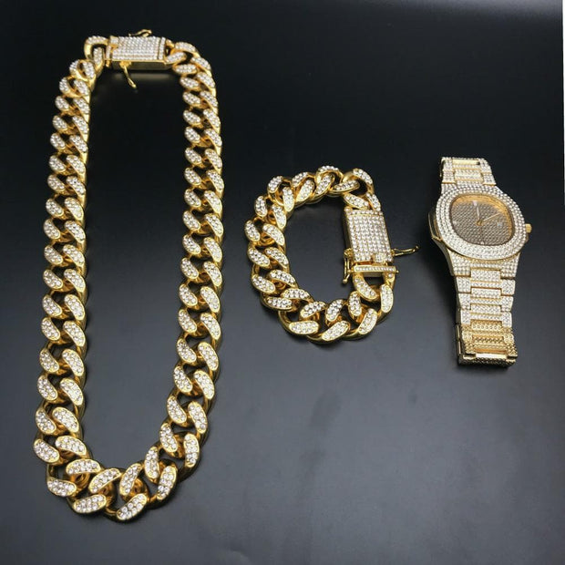 Luxury Gold Color Watch Crystal Miami Ice Out Cuban Chain Gold Silver Men Watch&amp Necklace&amp Bracelet Hip Hop jewerl For Men