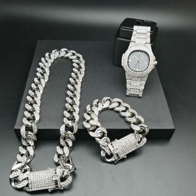 Luxe Gold Color Watch Crystal Miami Ice Out Cuban Chain Gold Silver Men Watch & Bracelet Hip Hop jewerl Pour Hommes