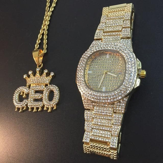 Luxury Gold Men Watch & Necklace Combo Set Men Hip Hop Gold Silver Necklace Chain Ice Out Cuban Watch Hip Hop Jewerly For Men