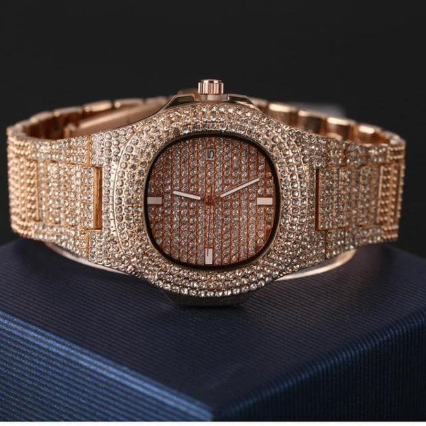 Luxury Men Diamond Watch Fashion Automatic Date Quartz Watch Men Gold Stainless Steel Hip Hop Men Watches Top Brand Luxury clock