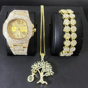 Luxury Men Gold Color Watch Men Watch & Necklace & Braclete Combo Set Ice Out Cuban Watch Crystal Miami Jewerly Hip Hop For Men
