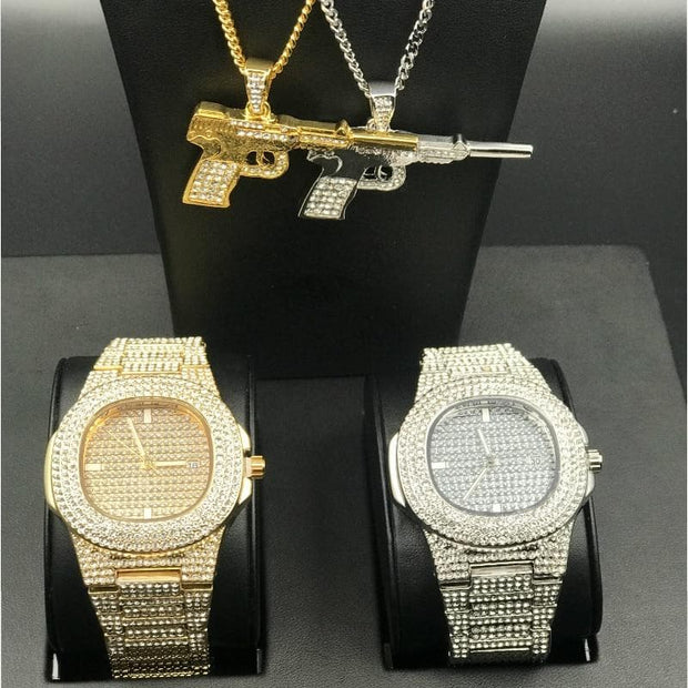 "Luxury Men Gold Color Watch Men Watch & Necklace Combo Set Ice Out Cuban Chain AK47 Pendant w/ 24"" Box Necklace Chain For Men"