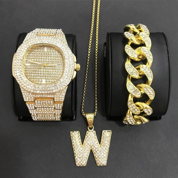 Luxury Men Gold Color Watch & Neckalce & Braclete Combo Set Ice Out Cuban Jewerly Crystal Miami Neckalce Chain Hip Hop For Men