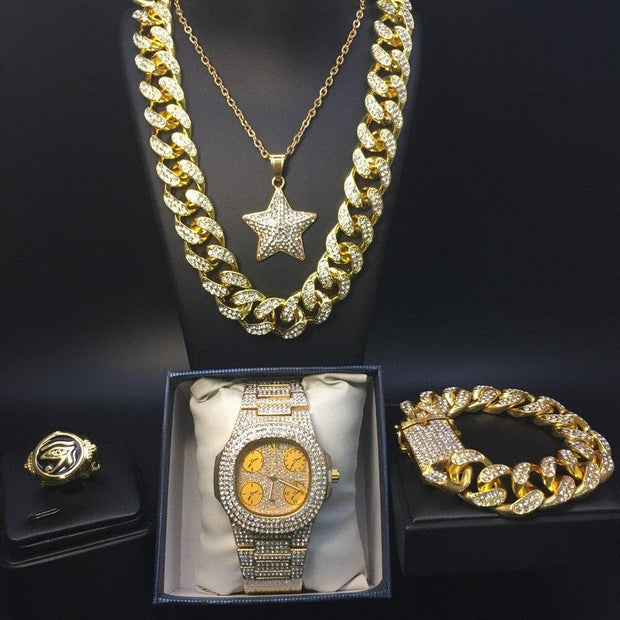 Golden Watch and collier & braclite & ring Combo