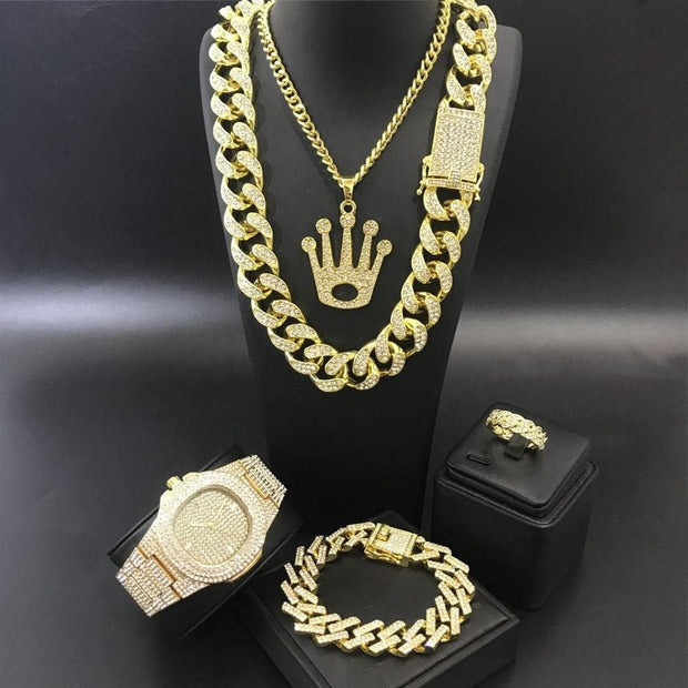 Luxury Men Gold Color Watch & Necklace & Braclete & Ring Combo Set Ice Out Cuban Watch Hip Hop Necklace