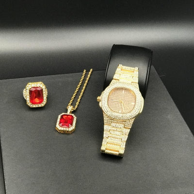 Luxury Men Gold Diamond Watch MEN WATCH and Ruby ring set Ice out Cuba Diamond Gold Watch Hip Hop