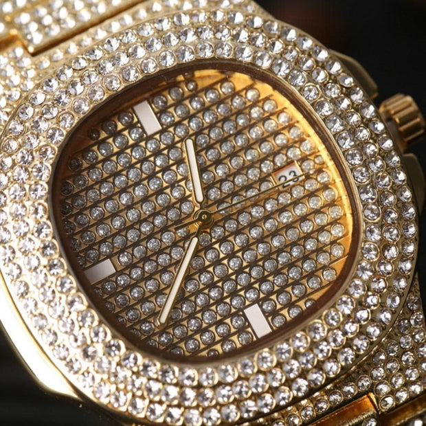 Luxury Men Gold Silver Diamond Watch &Red Ruby Necklace Combo Set Ice Out Cuban Gold Silver Pendant Bling Rapper Hip Hop For Men