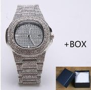 Deluxe Men Golden Silver Diamond Watch