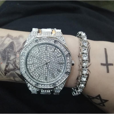 Ice out Cuba Chain Gold and Money Luxury Men Watch jewerly make Hip Hop for Men