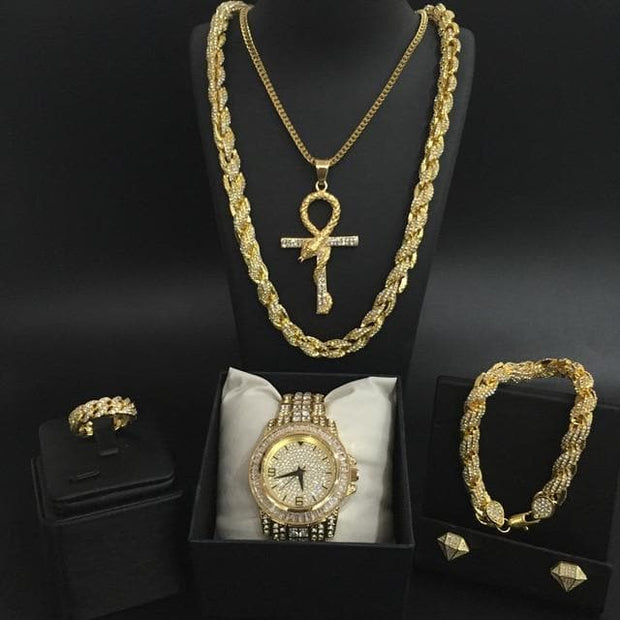Luxury Men Watch Hip Hop Men Cross Crown Ice Out Cuban Necklace Watch&Necklace&Bracelet&Ring& Earrings Combo Set Hip Hop For Men 1