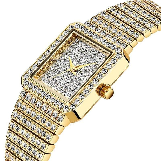 MISSFOX Diamond Watch For Women Luxury Brand Ladies Gold Square Watch Minimalist Analog Quartz Movt Unique Female Iced Out Watch