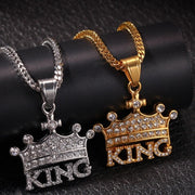 Men Hip Hop Gold color Crown KING Stainless Steel Rhinestone Pendant Necklace Crystal Miami Neckalce Chain Hip Hop For Men