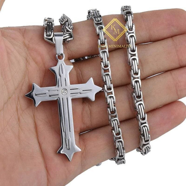 Men's Cross Necklace Gold Black Cross Pendant Stainless Steel Byzantine Chain Necklace Hip Hop Male Jewelry