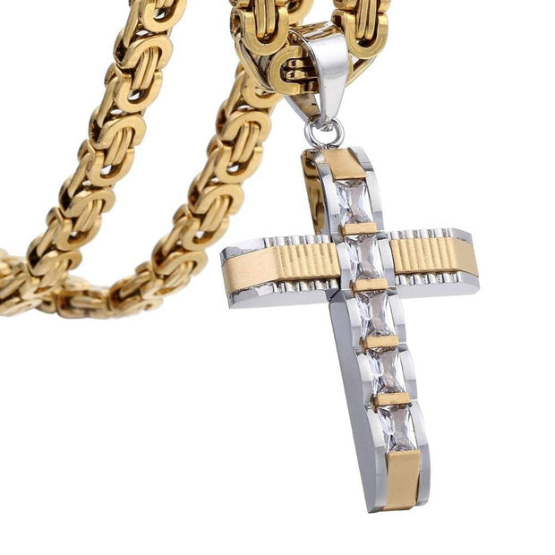 Men's Cross Necklace Gold Black Stainless Steel Byzantine Chain Necklace Male Jewelry Gifts for Men