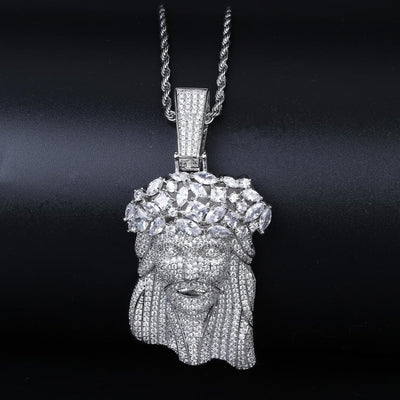 New Big Size Jesus Pendant Necklace With Tennis Chain Mens Iced Out Charm Jewelry Gold Silver Color Chain Hip Hop Jewelry