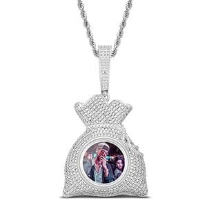New Design Money Bag Custom Picture Pendant Necklace Ice Out Personality For Men's Hip Hop Jewelry Rap Style Cubic Zirconia Gift