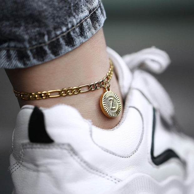 New Initial Letter Pendant Anklet Stainless Steel Figaro Chain Leg Bracelets Women Girls Fashion Jewelry Gift
