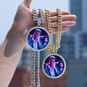 New Oversize Big Round Custom Picture Pendant Necklace Personality Men's Hip Hop Jewelry Exaggeration Rap Style Cubic Zirconia