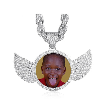 Gold Silver Custom Made Photo With Wings Medallions, et Pendentif Cubic Zircon Rope Chain For Men's Hip Hop Jewelry.