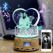 Night Light- Rotating MP4 Music Player Stand, Custom Crystal Photo And Text LED Display