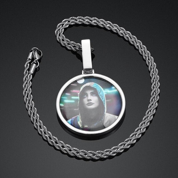 Single Pendant Custom Photo Memory Medallions Solid Pendant Necklace Circle Hip Hop Jewelry Chain Personalized Without Crystal