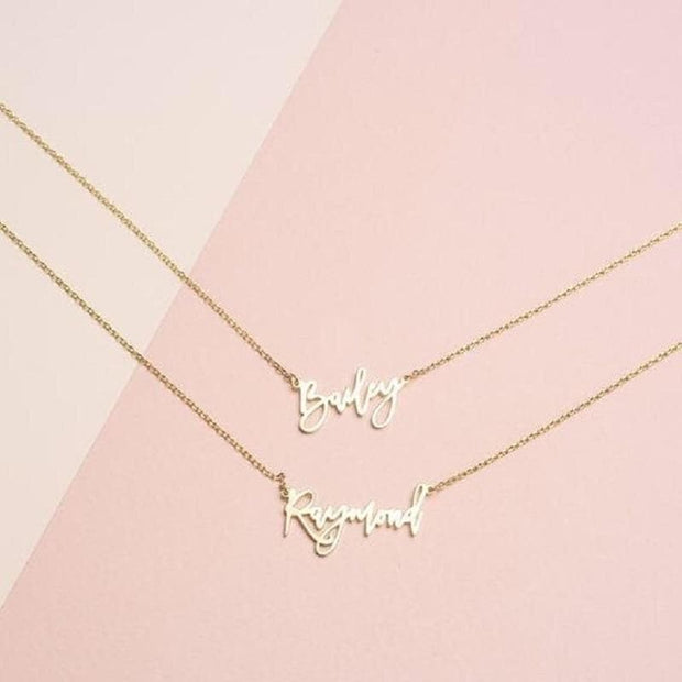 Personality Woman Necklace Name Custom Necklace Golden Cursive Letter Necklace Couple Stainless Steel Pendant Romantic Gift BFF