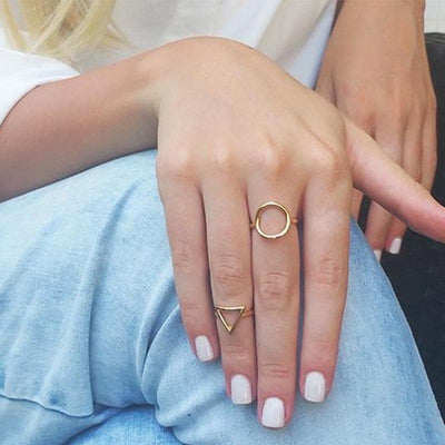 Rose Or Knuckle Rings For Women Minimalism Wedding Jewelry 2019 Lucky Karma Circle Triangle Ring Sister Cadeaux Bague Femme bff