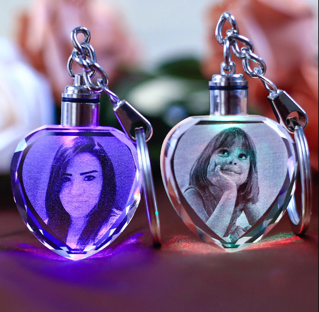 Laser Engraved Crystal Glass With Color Changing Led Lights - Custom It With Your Photos