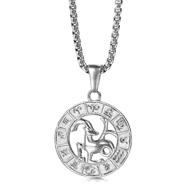 Silver Color 12 Horoscope Zodiac Sign Pendant Necklace For Women Men Stainless Steel Constellations Jewelry Gift 1