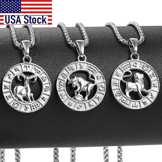Silver Color 12 Horoscope Zodiac Sign Pendant Necklace For Women Men Stainless Steel Constellations Jewelry Gift