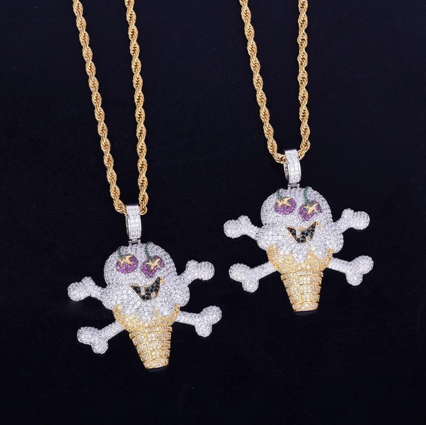 Skull ice cream shape Necklace& Pendant Free Rope Chain Gold Color AAA Cubic Zircon Men's Hip Hop Jewelry For Gift