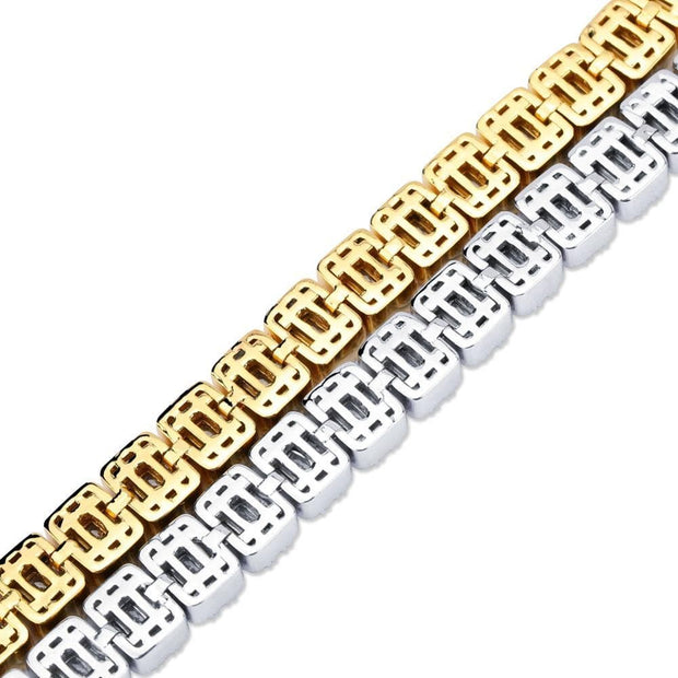 0.5 Inch Tennis Bracelet Square CZ Stone Men's Hip Hop Jewelry Copper Material Gold Silver Color Iced Out CZ Link 7 8 Inch