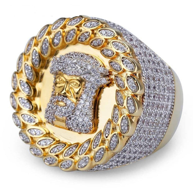 New Arrival Hip Hop Men Ring Copper Gold Color Micro Paved AAA CZ Stone Pharaoh Round Rings With 8 9 10 11 12