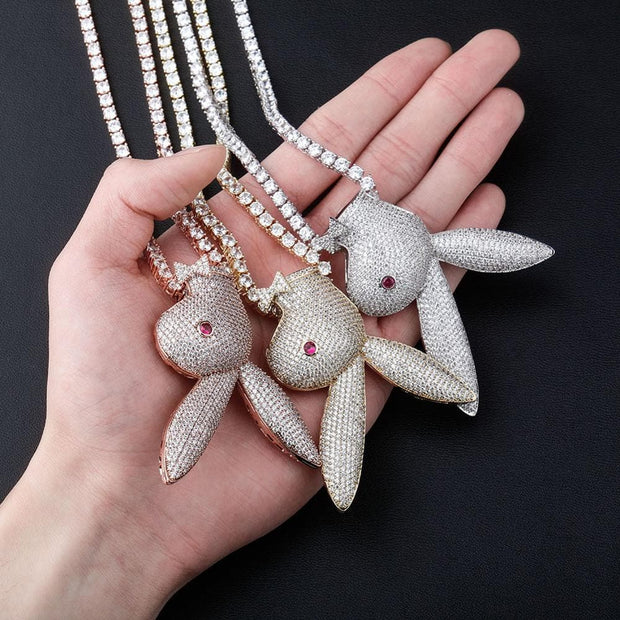 Fashion Hip Hop Long Ear Rabbit Head Pendant Iced Out Cubic Zirconia Necklace Copper Material Hip Hop Jewelry Gift