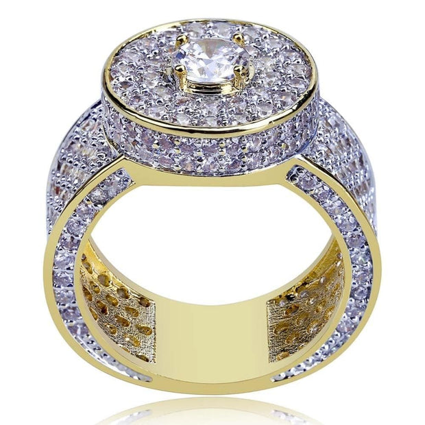 Gold Color All Iced Out Big Stone Micro Pave Cubic Zircon Ring 7 8 9 10 11 Five Sizes Rings Hip Hop Jewelry For Male