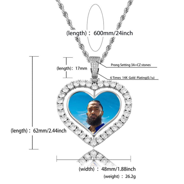 Heart Shaped Custom Photo Spin Double Sided Medallion Pendant Necklace With 4mm Tennis Chain Zircon Hip Hop Jewelry