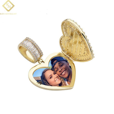 Heart-shaped Photo Pendant Iced Zircon Cubic Zirconia Pendant Hip Hop Fashion Jewelry Can Be Opened