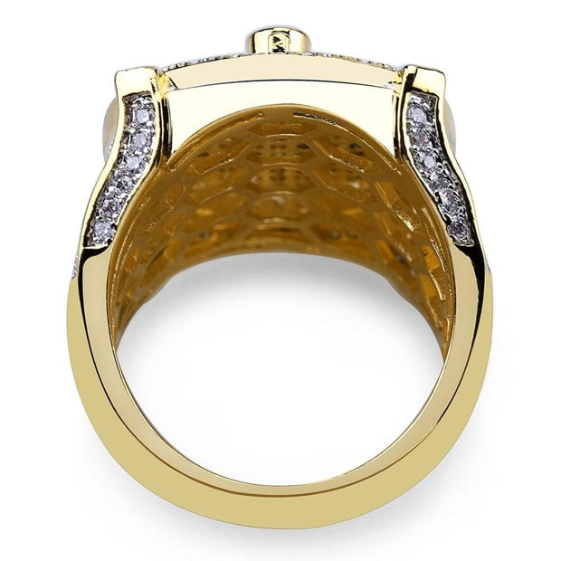 Hip Hop Gold Color Plated Brass Iced Out Micro Pave Cubic Zircon Masonic Ring Charm For Men Gifts With 7 8 9 10 11